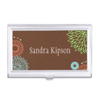 Brown Floral Business Card Holder