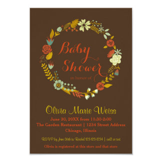 Brown Floral Circle Wreath- 3x5 Baby Shower Invite