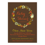 Brown Floral Circle Wreath- Baby Shower Invite