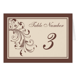 Brown Floral Curls Wedding Reception Table Cards Card