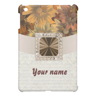 Brown floral customizable iPad mini cover