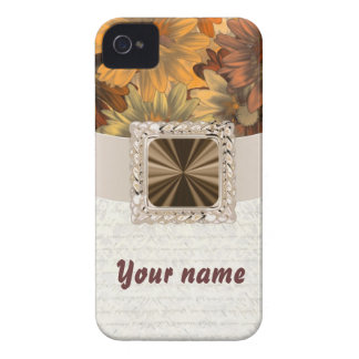 Brown floral customizable iPhone 4 case