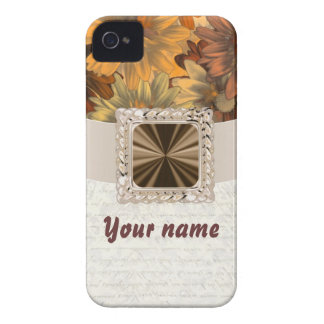 Brown floral customizable iPhone 4 Case-Mate case