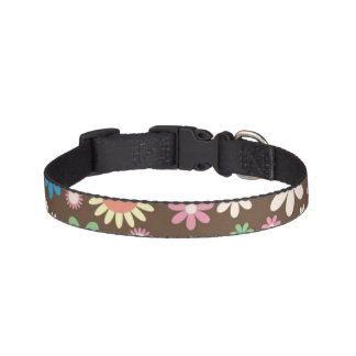 Brown Floral Design Dog Collar