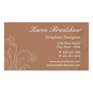 Brown Floral Graphic Designer Business Cards