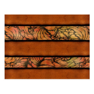 Brown Floral Leather Postcard