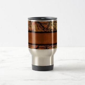 Brown Floral Leather Travel Mug