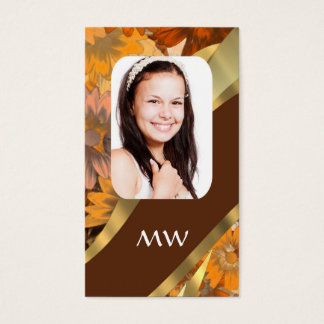 Brown floral photo template business card