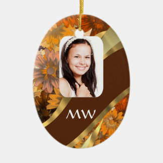 Brown floral photo template christmas ornament