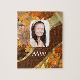 Brown floral photo template jigsaw puzzle