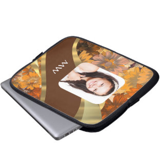 Brown floral photo template laptop sleeve