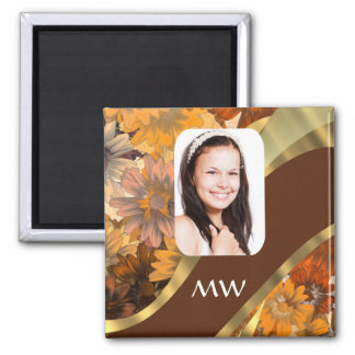 Brown floral photo template magnet