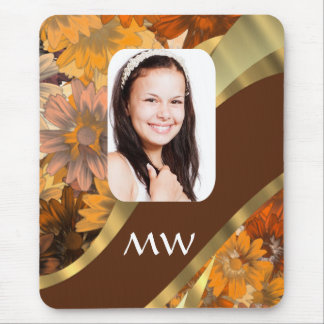 Brown floral photo template mouse mat