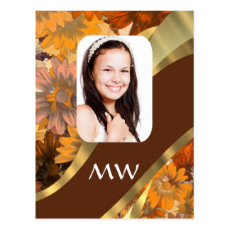 Brown floral photo template postcard