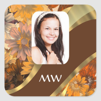 Brown floral photo template square sticker