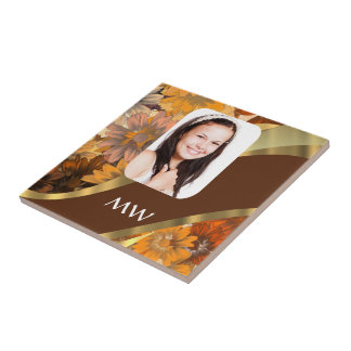 Brown floral photo template tile