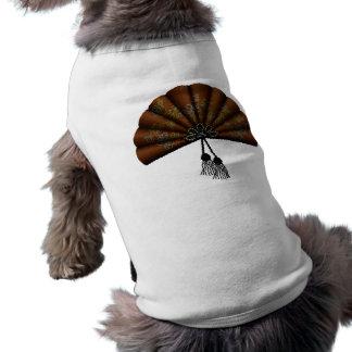Brown Floral Pixel Art Fan Sleeveless Dog Shirt