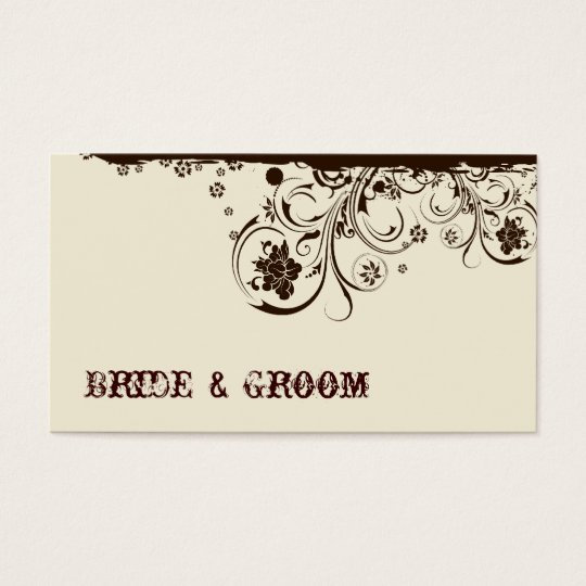 Brown Floral Place Cards