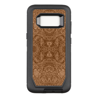 Brown Floral Suede Leather Texture OtterBox Defender Samsung Galaxy S8 Case