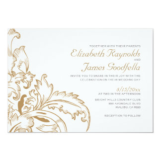 Brown Flourish Wedding Invitations