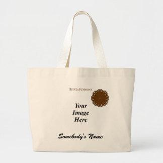 Brown Flower Ribbon Template Jumbo Tote Bag