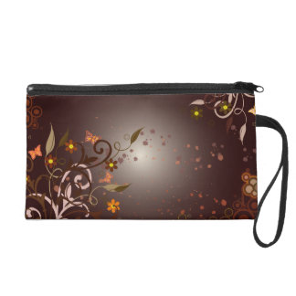 Brown Flowers and Vines Wristlet Clutch