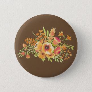 Brown Flowers Standard, 2¼ Inch Round Button