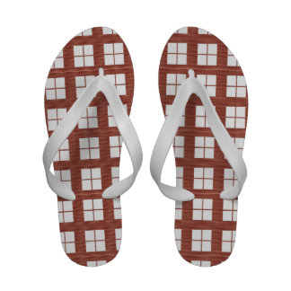 Brown FourSquares Flip-Flops