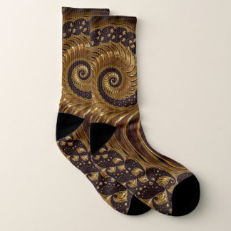 Brown fractal swirl pattern socks