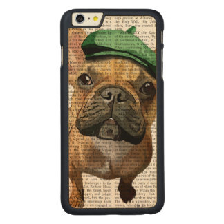 Brown French Bulldog with Green Hat 2 Carved Maple iPhone 6 Plus Case