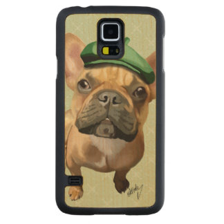 Brown French Bulldog with Green Hat Carved Maple Galaxy S5 Case