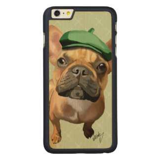 Brown French Bulldog with Green Hat Carved Maple iPhone 6 Plus Case