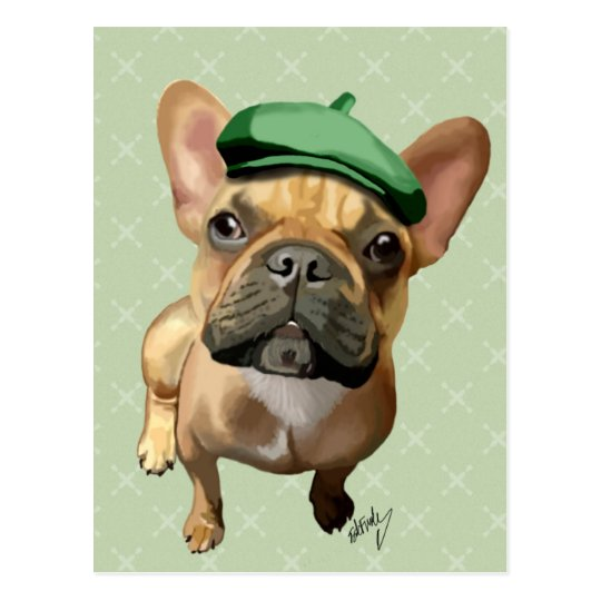 Brown French Bulldog with Green Hat Postcard