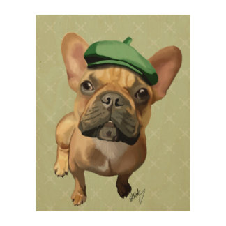 Brown French Bulldog with Green Hat Wood Print