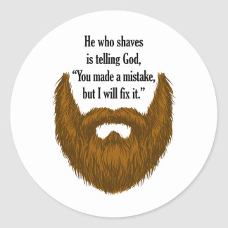 brown fuzzy beard classic round sticker