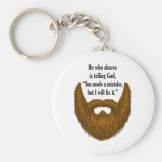 brown fuzzy beard key ring