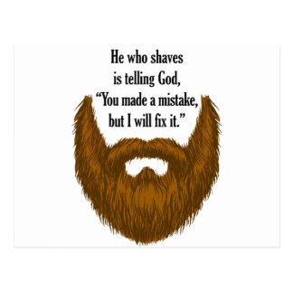 brown fuzzy beard postcard