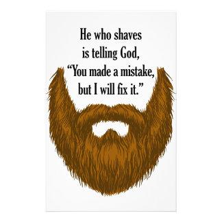 brown fuzzy beard stationery