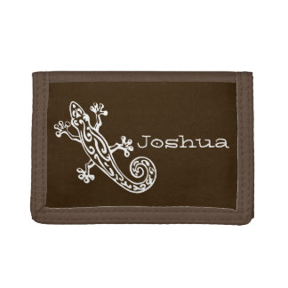 Brown gecko white stylized named wallet