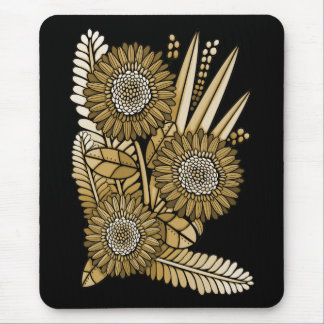 Brown Gerbera Daisy Flower Bouquet Mouse Mat