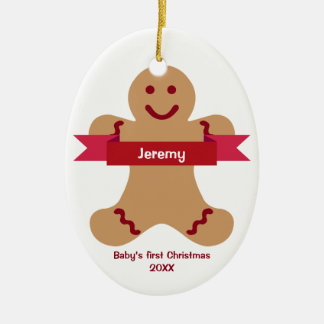 Brown gingerbread kid red banner name baby first christmas ornament