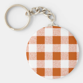 Brown Gingham Check Pattern Basic Round Button Key Ring