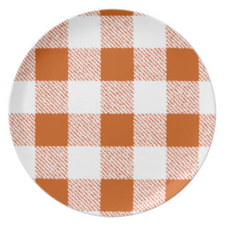 Brown Gingham Check Pattern Dinner Plate