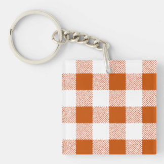 Brown Gingham Check Pattern Single-Sided Square Acrylic Key Ring