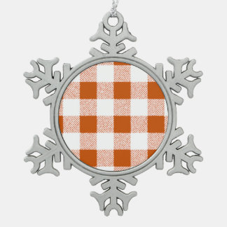 Brown Gingham Check Pattern Snowflake Pewter Christmas Ornament