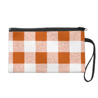 Brown Gingham Check Pattern Wristlets
