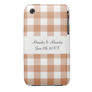 Brown gingham pattern wedding favors iPhone 3 covers