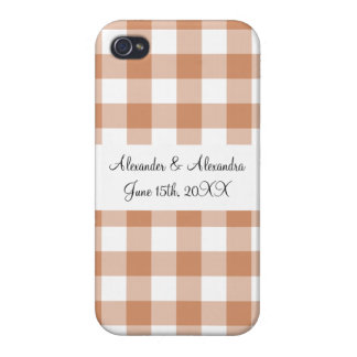 Brown gingham pattern wedding favors iPhone 4/4S covers