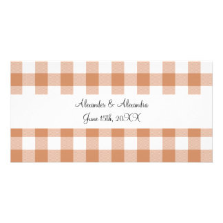 Brown gingham pattern wedding favors photo cards