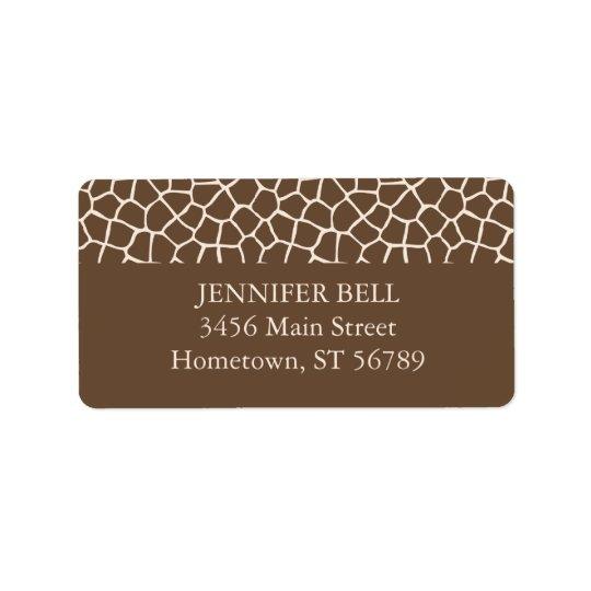 Brown Giraffe Address Label